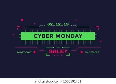 Cyber Monday Sale with technology interface design. Futuristic frame illustration with green and red color graphic elements.