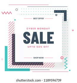 Cyber Monday Sale template or flyer design with 50% discount offer and abstract elements on white background.