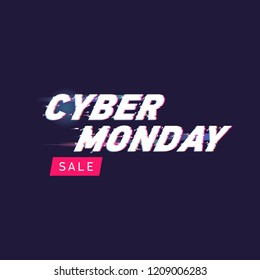 Cyber monday sale vector illustration. Cyber monday lettering with glitch effect. Glitch vector letters on dark background