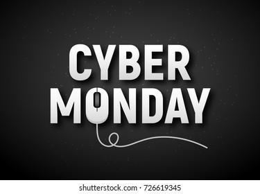 Cyber monday sale vector illustration. Cyber monday advertisign with mouse. Online sale backgrund design