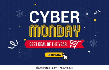 Cyber Monday Sale vector illustration, Text on binary code and snowflakes background.