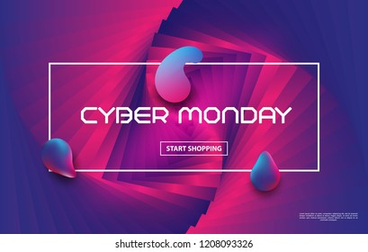 Cyber Monday Sale vector techno style.Liquid color background design. The composition of the liquid gradient form. Futuristic posters. Vector illustration.
