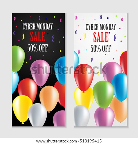 c839aa319ae Cyber Monday Sale Vertical Banners Postcard Stock Vector (Royalty ...