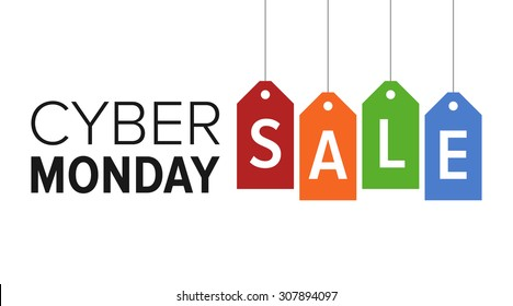 Cyber Monday sale website display with colorful hang tags vector promotion