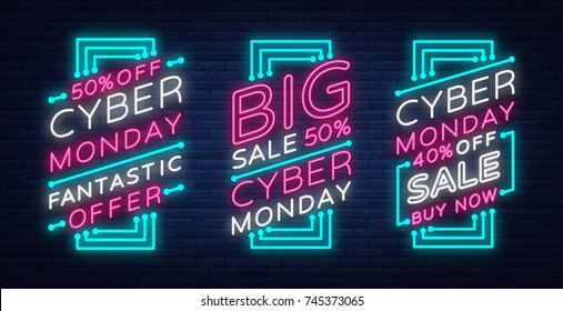 Cyber Monday a set of banners collection in a trendy neon style, a luminous signboard, a nightly advertising advertisement of sales rebates of a cyber Monday. Vector illustration for your projects