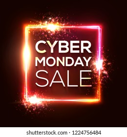 Cyber Monday shopping banner in neon style. Square background with abstract lights and sparkles. Cyber Monday special offer text in glowing rectangle. Colorful sale vector illustration.