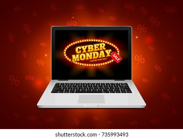 Cyber Monday sign on laptop screen. Vector internet shop sale background banner. Online sale discount.