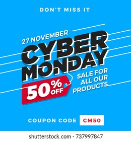 Cyber Monday Super Sale. Up to 50 percent off Big Sale Sidebar Banner, Poster, Sticker, Badge Advertising Promotion with Price Tag Label Element and Voucher Coupon Gift Code. Fresh Blue Background Color