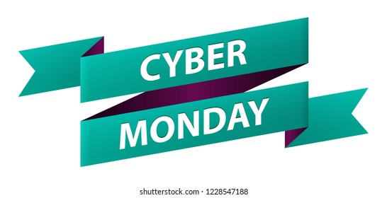Cyber Monday text ribbon banner oblique icon isolated on white background. Symbol of the Biggest Online Shopping Days of the Year. Vector illustration