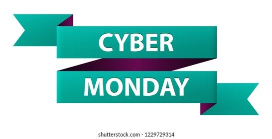 Cyber Monday text ribbon banner icon isolated on white background. Symbol of the Biggest Online Shopping Days of the Year. Vector illustration