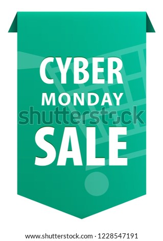 Cyber Monday text tag ribbon banner icon isolated on white background.  Symbol of the Biggest Online Shopping Days of the Year. Vector illustration  - Vector 33b934dc676c6