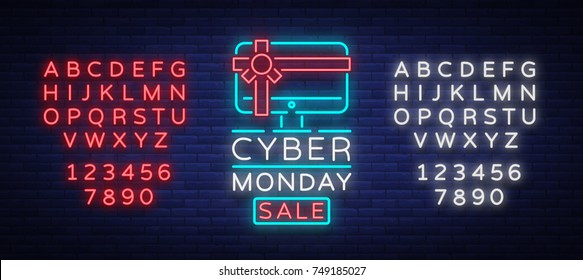 Cyber Monday vector banner in fashionable neon style, luminous signboard, nightly advertising advertisement of sales rebates of cyber Monday. Editing text neon sign. Neon alphabet