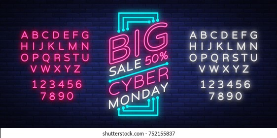 Cyber Monday vector banner in fashionable neon style, luminous signboard, nightly advertising advertisement of sales rebates of cyber Monday. Editing text neon sign. Neon alphabet.