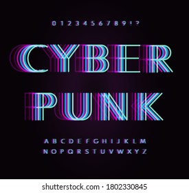 Cyber punk letters and numbers set. Rave Overlay fluorescence colors line style alphabet. Original vector typeface designs for led posters, digital ads, future logo, cyber identities, sport events