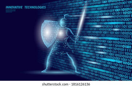 Cyber safety khight on data mass. Internet security lock information privacy low poly polygonal future innovation technology network business concept blue vector illustration