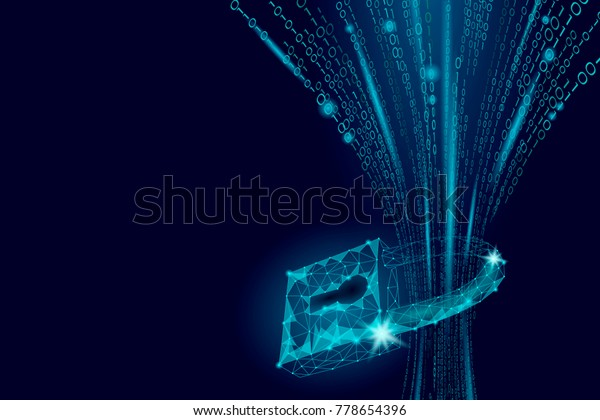 Cyber safety padlock on data mass. Internet security lock information privacy low poly polygonal future innovation technology network business concept blue vector illustration