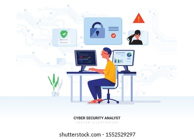 Cyber security analyst concept with character. Can use for web banner, infographics, hero images. Flat vector illustration isolated on white background.