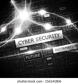 CYBER SECURITY. Background concept wordcloud illustration. Print concept word cloud. Graphic collage with related tags and terms. Vector illustration.