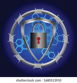 Cyber Security Background With Metallic Circular Border With Barbwire Shield And Padlock With Red Key Hole Over Dark Blue