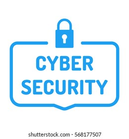 Cyber security. Badge with lock icon. Flat vector illustration on white background.