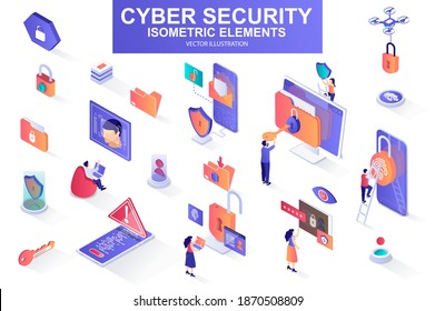Cyber security bundle of isometric elements. Fingerprint scanner, padlock, password, firewall, data folder, electronic security key isolated icons. Isometric vector illustration with people characters