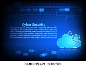 Cyber security Clound Technology background and cyber crime , upload data, Vector illustration.