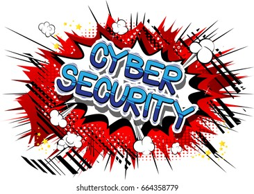Cyber Security - Comic book style word on abstract background.