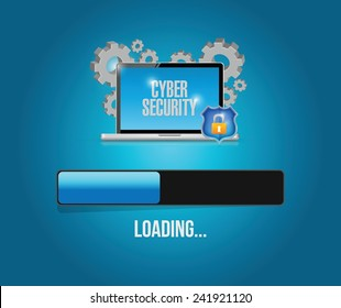 cyber security computer technology update. illustration design over a blue background