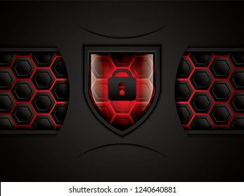 Cyber security concept background, vector illustration