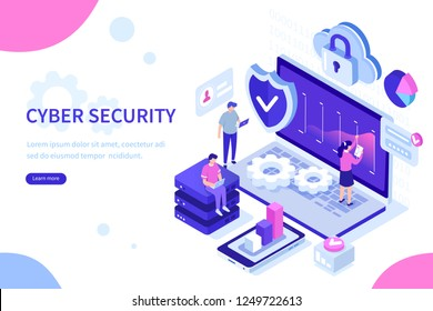 Cyber security concept with characters. Can use for web banner, infographics, hero images. Flat isometric vector illustration isolated on white background.