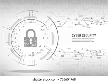 Cyber Security Concept : Close padlock on digital white background.