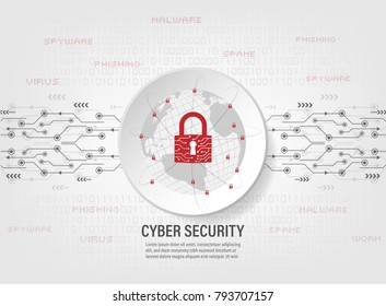 Cyber Security Concept : Closed Padlock protect world global network on binary code background.