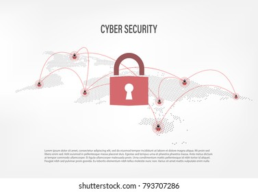 Cyber Security Concept : Closed Padlock on internet hacker background