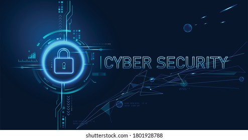 Cyber security concept design for personal privacy, data protection, and data security. Padlock with Keyhole icon on blue background.