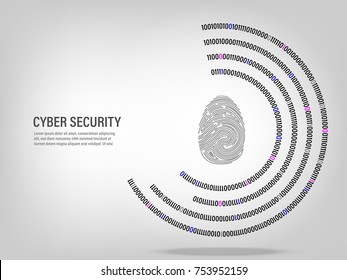 Cyber Security Concept : fingerprint on digital white background.
