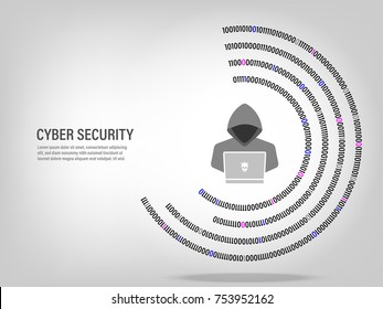 Cyber Security Concept : Hacker working on digital white background.