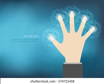 Cyber security Concept  With Hand on Abstract Technology background. vector illustration
