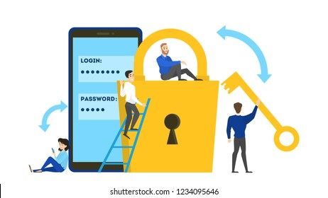 Cyber security concept. Idea of digital data protection and mobile safety. Modern technology and virtual crime. Access to information through password. Flat vector illustration