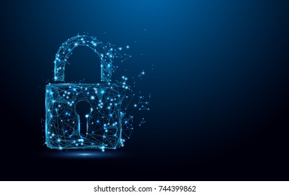 Cyber security concept. Lock symbol from lines and triangles, point connecting network on blue background. Illustration vector