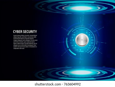 Cyber Security Concept : Padlock on future technology Digital Background.