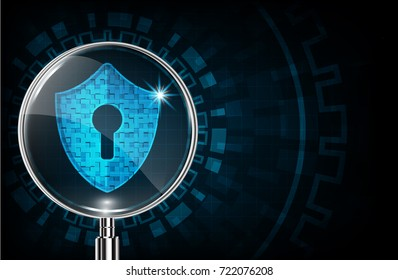 Cyber security concept: Shield With Keyhole icon and Magnifying glassbackground. Ransomware alert, technology ,cyber secueity,cybercrime.