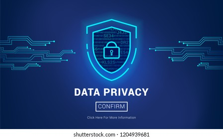 Cyber Security Concept. Shield with Lock inside. Data Privacy, vector design