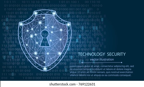 Cyber security concept: Shield on digital data background.vector illustration
