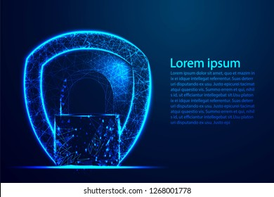 Cyber security concept, Shield protection, lock, Security, Padlock, Keyhole. Abstract wire low poly, Polygonal wire frame mesh. Background Illustration