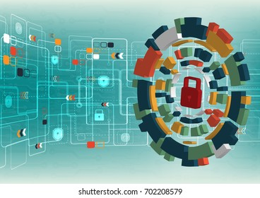 Cyber security concept vector illustration. Lock on multicolor technology circle  background.