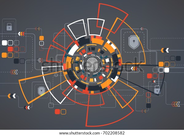 Cyber security concept vector illustration. Finger print on multicolor technology circle  background.