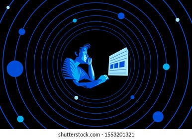 Cyber security and cyber crimes. Young boy using computer in the dark room and at   background connection circles connection lines.