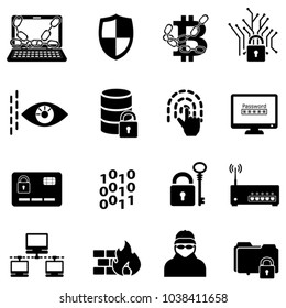 Cyber security, data protection, hacker and encryption web icon set