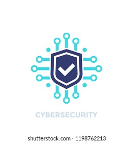 cyber security, data protection vector logo on white