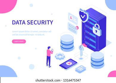 Cyber security and data storage concept with characters. Can use for web banner, infographics, hero images. Flat isometric vector illustration isolated on white background.
